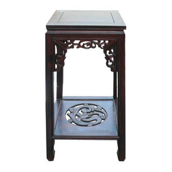 Golden Lotus - Chinese Square Dark Brown Dragon Plant Stand - This is an oriental plant stand / pedestal table made of natural wood and stained with dark brown color. The base and the apron is motif of ancient Chinese dragon. Its simple outlook creates an elegant accent to the room.