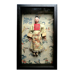 Male Chinese Dol With Hand Embroidered - A Chinese hand made male doll with hand carved face and finger. The robes are of silk that is heavily hand embroidered. Shoes made by hand. Background is 18th century hand worked silk with typical bamboo design.