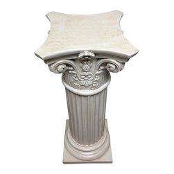 Casa de Arti - Classic Statuary Floral Wide Four Point Ionic Pedestal - Table Base - Column - Gorgeous Pedestal perfect as a table base for you home or office decor.