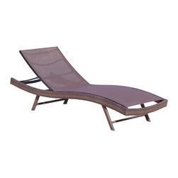 Great Deal Furniture - Eliana Outdoor Single Brown Textilene Chaise Lounge, Single - Lounge in the outdoors in modern style and comfort with the Eliana Chaise Lounge Chair. Constructed from durable Textilene fabric wrapped around an iron and wicker frame, the Eliana Chaise Lounge Chair is designed with you in mind. The seat curves are designed to conform to the body and the adjustable features allows users to adjust the backrest to their preference. Perfect for tanning and enjoying the outdoors or pool side, you will want to purchase a few of these chaise lounge chairs.