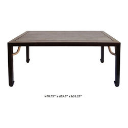 Chinese Rectangular Oriental Long Drawing / Dining Table / Desk - This is a rectangular wooden table with oriental arpon around the legs. The brown color stain is used around the edge and legs. The table top has natural wood light color and wood pattern.