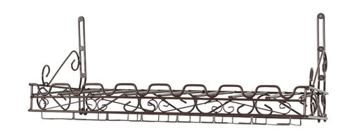 """Group 5 Marketing - Matt Black Metal Bottle & Glass Wall Wine Rack - This sturdy metal wine rack offers easy storage and display of 8 bottles and 21 wine glasses. This wine rack makes a perfect addition to any kitchen or dining room. It mounts easily to the wall in order to maximize available space. 12""""h X 31""""w X 10""""d Metal Wine Rack W/ Matte Black Finish"""