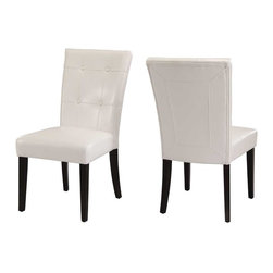Modus Furniture - Modus Bossa Dining Height Leatherette Parsons Chair [Set of 2], White - In Brazil, to do something with bossa is to do it with particular charm and natural flair. Available in counter and dining height with 48 and 54 inch tops, Bossa tables pair straight lined architectural bases with round floating tops, built out edge bands and book matched veneer surfaces. Parsons chairs, banquettes and kitchen counter stools are available in several fresh colors and blend transitional button tufting with a contemporary profile, upholstery application and wood finish. The result is an urban contemporary casual dining set designed with ample bossa.