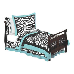 Blue Zebra Toddler Bedding Set (5 Pc.)