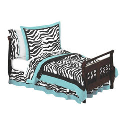 Sweet Jojo Designs - Blue Zebra Toddler Bedding Set (5 Pc.) - The Blue Zebra  5-Piece Toddler Bedding Set by Sweet Jojo Designs will help you create an incredible room for your child. This toddler bedding set features a super contemporary zebra print fabric paired with vivid solids to create a graphic, modern look. This collection uses the stylish colors of turquoise, black and white. The design uses 100% cotton fabrics that are machine washable for easy care. This wonderful set will fit all crib and toddler beds.