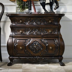 Hooker Furniture Carved 2 Drawer Lateral File Cabinet - Offer old-world inspiration with the stunning look of the Hooker Furniture Carved 2 Drawer Lateral File Cabinet. This piece adds a dramatic look to any space with its wood construction, dark finish, and intricate carved details. Elegant curves and antiqued hardware make it the center of attention in any room. It features two top drawers for storage and a lower filing cabinet area with penda flex letter/legal filing system.About Hooker Furniture CorporationFor 83 years, Hooker Furniture Corporation has produced high-quality, innovative home furnishings that seamlessly combine function and elegance. Today, Hooker is one of the nation's premier manufacturers and importers of furniture and seeks to enrich the lives of customers with beautiful, trouble-free home furnishings. The Martinsville, Virginia, based company specializes in lifestyle driven furnishings like entertainment centers, home office furniture, accent tables, and chairs.Construction of Hooker FurnitureHooker Furniture chooses solid woods and select wood veneers over wood frames to construct their high-quality pieces. By using wood veneer, pieces can be given a decorative look that can't be achieved with the use of solid wood alone. The veneers add beautiful accents of color and design to the pieces, and are placed over engineered wood product for strength. All Hooker wood veneers are made from renewable resources and are located primarily on the flat surfaces of the furniture, such as the case tops and sides.Each Hooker furniture piece is finished using up to 30 different steps, including 13 steps of hand-sanding and accenting. Physical distressing is done by hand. Pieces receive two to three coats of solid lacquer to create extra depth and add durability to the finish. Each case frame is assembled using strong mortise-and-tenon joints, which are then reinforced by mechanical fasteners and glue. On most designs, end panels extend to the floor to add s
