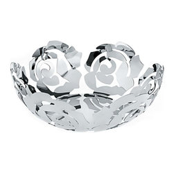 Alessi - Alessi La Rosa Fruit Holder - Steel - Fruit holder created in 18/10 mirror polished stainless steel.  Available in two sizes.  Manufactured by Alessi.  Designed in 2008.