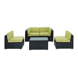 LexMod - Camfora Outdoor Wicker Patio 5 Piece Sofa Set in Espresso with Peridot Cushions - Simple and serviceable, the Camfora is a great choice for any backyard. Classically styled furniture crafted out of all weather materials meant to last, this set will please year after year. Enjoy some quality time in the fresh air with the Camfora set.