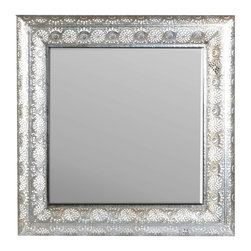 "Concepts Life - Concepts Life Mirror  Luminous Lace Collection  Silver, Square - Searching for a mirror with a modern look, but a vintage feel? Search no more. Our silver Luminous Lace Mirror will instantly infuse elegance into your room and dress-up any home. With its intricate detailing and delicate perforated patterns, this is the classic statement piece you've been waiting for. Turn it on it's back and use it as a decorative tray on a table; brilliance and elegance emanate from any piece atop this exemplary detail. Full of volume and brilliance, and complete with a wall hanging hook, this piece is no subtle addition to a space.  Dimensions: 24""w x 24""h x 2.5""d Weight: 7 lbs Iron and mirrored glass Hand welded and hand painting in silver D hooks attached for hanging Imported"