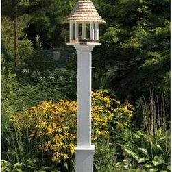 Lazy Hill Farms Bird Feeder - Dinner with a view, the Lazy Hill Farms Bird Feeder is a charming way to feed birds while dressing up your garden. This detailed feeder features a white, solid cellular vinyl, which has the look and feel of genuine wood without the maintenance and has a copper band to help contain seeds and add to the look. It's topped with a detailed redwood shingle roof and includes a metal plate for post mounting.About Lazy Hill Farm Designs Lazy Hill Farm Designs is a leader in garden and birding accessories. They are known for turning exquisite designs into exceptional quality garden accessories. All Lazy Hill Farm products are made of solid cellular vinyl that looks and feels like genuine wood yet requires no maintenance. All the roofs are removable for easy cleaning and each one is handcrafted in America. These are among the finest garden accessories on the market.