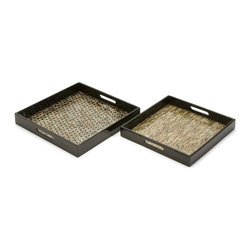IMAX Worldwide Home - Jacobs Mother of Pearl Serving Trays - Set of - Set of 2. Material: 60% Plywood, 20% Lacquer, 20% Mother Of Pearl. 15.75-17.75 in. H x 15.75-17.75 in. W. Weight: 7.15 lbs.Mosaic inlaid Mother of Pearl adorns this set of two trays with dramatic contrast.
