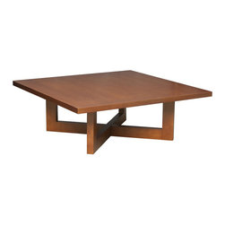 Regency - Regency Chloe Square Veneer Coffee Table in Cherry - Regency - Coffee Tables - HWSQTC3713CH - Host and entertain guests with the regency Cherry 37 inch square veneer coffee table. This stylish table has a low height that is grounded to the floor. A thick x shaped base is directly connected to the supporting posts of this square table. A cherry finish is given to this wooden coffee table.