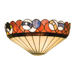 Meyda Tiffany - Meyda Tiffany Burgundy Billiard Contemporary Tiffany Wall Sconce X-89122 - Rack em up and play some pool! This Tiffany Wall Sconce will be the perfect addition to your billiard or game room. Its simple design of beige and black stained glass highlight the billiard balls and amber background. This collections is hand finished in Mahogany Bronze.