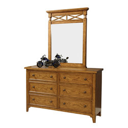 """Lea Industries - Lea Americana 6-Drawer Dresser with Portrait Mirror in Khaki Oak - Khaki oak finish accented with light distressing and burnished edges with subtle highlights add interest with the natural character of the wood. Developing a youth group that has a broad appeal for both boys and girls; young and old was the inspiration behind Americana. A cleaner, American casual group with lot's of appeal to fit any lifestyle. �Standard"""" chest of drawers and night stand, and Saw Horse desk takes up less wall space than a pedestal desk and is more laptop friendly and easy to move. Something new being offered is the Loft beds with cases that nest under the unit. An eclectic mix of materials and finishes gives this group a unique, but comfortable flavor and design."""