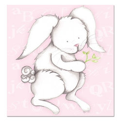 """Doodlefish - Bonny Bunny Pink - Bonny Bunny is an 18"""" x 18"""" Gallery Wrapped Giclee Print that is a mix of graphical elements and a drawing of a precious little bunny with a cottontail and long whiskers.  Choose the background color and the background pattern to match your child's room,  Add your child's name or even your favorite pet.  This artwork is also available mounted in a painted frame of your choice.    The finished size of the mounted piece is approximately 22""""x22""""."""