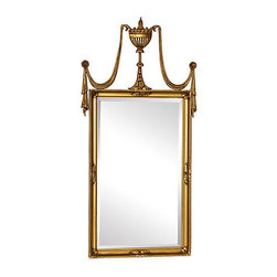 Stunning Neo-Classical Mirror - A beautiful Neo-Classical mirror with double drape and center urn decor.  Approx 1970's and has a beveled mirror with a slight distortion to mirror bottom due to age and use,  Top is removable for shipping.  Mirror cleaner is appropriate.