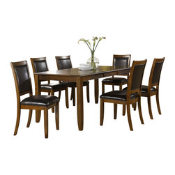 Monarch Specialties - Monarch Specialties 1892 7-Piece Rectangular Dining Room Set in Dark Walnut - Create a contemporary look in your kitchen area with this lovely dining table. Bathed in a dark walnut ash veneer, this piece features a spacious rectangular top with a waterfall profile and shaker legs. For additional space, there is an extension leaf to accommodate up to six of your guests for easy dining. There is no doubt that this piece will be the focal point of your dining space.