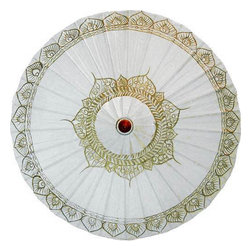 Oriental-Decor - White Traditional Thai Umbrella - From afar, this fashionable white traditional Thai umbrella may look like a bridal accessory. However, more than that, it's also an accessory that's fit for a king or queen! Capture the purity of white by using this accessory on those slow, hot summer days where the pavement seems to be melting to butter. In fact, give your outfits a fashionable twist by using this when you're walking around. It may be a sticky summer, but it does not mean that you have to look the part, too. Because the colors are white and soft ebony, this one's easy to pair up with just about anything you own. Go from formal to casual to avant grade with this versatile piece. Well, it certainly looks stunning on you, but can it protect you from a light sprinkle of rain? Don't fret. This stylish umbrella is made of oil-treated cotton and bamboo, and it's totally waterproof. With hand painted Thai-inspired design made by expert parasol artisans, the intricate wood arrangement is as functional as it is beautiful to behold. Unsure of what to bring to the beach to make you stand out from the crowd? You certainly won't regret bringing our White Traditional Thai Umbrella.
