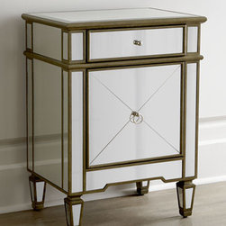 """Horchow - Iris Mirrored Chest - Add retro-style glamour to any space with this classic mirrored chest in your choice of finishes. Select color when ordering. Handcrafted of wood composite and mirrored veneers. Hand-painted finish. One drawer, one door, and one shelf. 22""""W x 16""""D x..."""