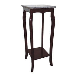 ORE International - Granite Pedestal Table Top in Cherry Finish - Lower shelf. Curved cabriole legs . Made of wood composite. 12 in. W x 12 in. D x 30 in. H (10 lbs.)An elegant touch to any room. Use as a plant stand or telephone table. Whether you use it as a telephone table or a plant stand or to display decorative items, this striking accent table will be a regal addition to any decor.