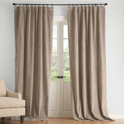 Velvet Drape, Taupe - Sigh. These gray velvet drapes make my heart melt. They are so beautiful, so classic and so cuddly looking, especially when pooled up on the ground like the ones in this photo.