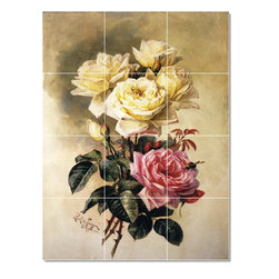 Picture-Tiles, LLC - French Bridal Roses Tile Mural By Paul De Longpre - * MURAL SIZE: 24x18 inch tile mural using (12) 6x6 ceramic tiles-satin finish.