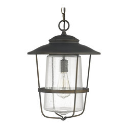 Capital Lighting - Capital Lighting 9604OB Creekside Outdoor Hanging Lantern - Outdoor Hanging Lantern in Old Bronze with Seeded glass from the Creekside Collection by Capital Lighting.