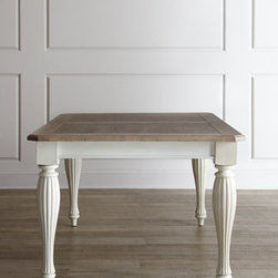 Horchow - Waycroft Dining Table - Dining takes on country charm and rustic simplicity with this comfortable dining furniture. Design touches such as distressing, hand-hammered nailhead trim, and delicate turnings add style to comfort. Made of hackberry solids and veneers. Hand painted. Table with weathered-driftwood finished top