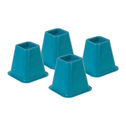 Honey Can Do - Blue Bed Risers - Set of 4 - Set of 4. High impact resistant composite plastic. One inch high lip to keep bed post or caster in place. 300 lb. capacity per bed riser. Adds 5.25 in. height to beds. Fits up to 2.75 in. post