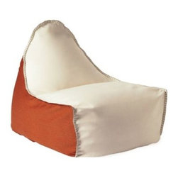 Serena & Lily - Newport Lounger Persimmon/Ivory - We took the classic beanbag and gave it a sail inspired shape that perfects the lounge position. Add killer colors to the mix a persimmon base, an ivory top, fog whipstitching for contrast and you've got a keeper. A sturdy rope handle lets you pull it with ease from porch to playroom.