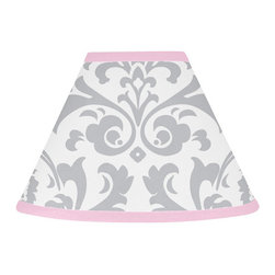 Sweet Jojo Designs - Elizabeth Pink and Gray Damask Lamp Shade by Sweet Jojo Designs - The Elizabeth Pink and Gray Damask Lamp Shade by Sweet Jojo Designs, along with the  bedding accessories.