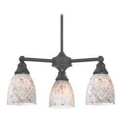 Design Classics Lighting - Mini-Chandelier with Grey Art Glass in Matte Black Finish - 598-07 GL1025MB - Transitional matte black 3-light chandelier. Takes (3) 100-watt incandescent A19 bulb(s). Bulb(s) sold separately. UL listed. Dry location rated.