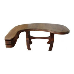 ecofirstart - 960's Biomorphic Studio Desk - Fine and large stack-laminated walnut studio desk of biomorphic form with curved apron, two drawers, butterfly joints details.
