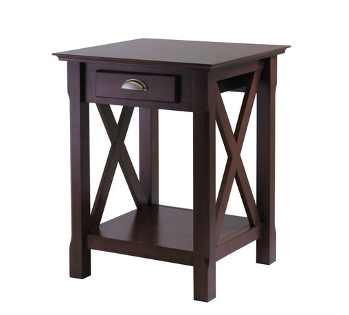 Winsomewood - Xola Night Stand - X marks the spot. Put this charming table to use in your bedroom as a nightstand or living room as an end table. Crafted of solid and composite wood, finished in an eye-catching cappuccino stain, this little powerhouse keeps your room tidy and organized while making a statement of style.