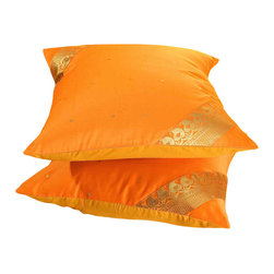 Indian Selections - Set of 2 Pumpkin Decorative Handcrafted Sari Cushion Cover, 20x20 inches - 6 Sizes available