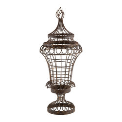 Kathy Kuo Home - Pair French Cottage Country Wire Leaf Urn with Flame Top- Small - This smaller wire outdoor safe urn has unique details with a flame top, scalloped accents and a Rust finish.  Price marked is for a pair.