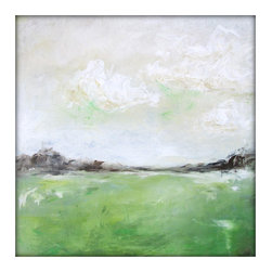 Abstract Landscape Modern Minimalist Acrylic Painting on Canvas - 24x24 Green,Cr - Dimensions: 24'x24' with a profile of about 1''