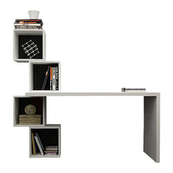 Decortie - Balance Working Desk, Black Cubes - The charming Decortie Balanced Desk and Bookcase is both stylish and fun. Featuring four stacked open cubby holes holding one side of the smooth minimal desk, this piece would create a lovely feature in a contemporary interior offering plenty of space for your books and papers.
