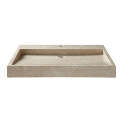 """31"""" Polished Cream Marble Trough Sink - Beautifully neutral in color, the 31"""" Cream Marble Trough Sink provides ample space for washing and features a slanted basin for excellent water drainage."""
