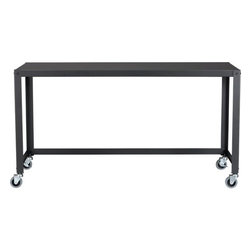 go-cart carbon console table - industrial revolutions. Nifty metal office worker or dining companion rolls into place on 4 commercial wheels and 1 industrial carbon grey powdercoat. 2 wheels lock.- Steel with a carbon powdercoat finish- Utilitarian design- Four industrial casters; two lock- Made in Taiwan- See dimensions below