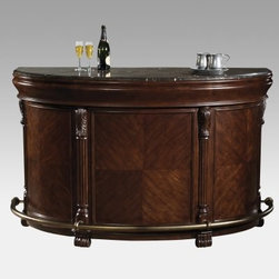Howard Miller Niagara Home Bar - The Howard Miller Niagara Home Bar isn't just another pretty face. This demilune-shaped bar is made of wood finished in Rustic Cherry with a clear topcoat and the front features cherry veneers in a sunburst pattern columns and carved feet. The bar top is laminated Italian marble and the antique brass finished metal footrest just adds an extra bit of classic detailing.On the business side of the Niagara Home Bar you'll find side-hinged drawers that lock into place and a black granite cutting board that fits in ideal for cutting fruit or mixing drinks. One glass-fronted side door has a shelf for two levels of storage. The center area has two pullout drawers one with insulated stainless steel bins for chilling wine and keeping condiments handy. A stemware rack keeps glasses within easy reach and five levels of wine storage ensure a variety of bottles are properly stored. This home bar is 27.5D x 75.75W x 42H inches making it perfectly sized for nearly any size room.The Howard Miller StoryIncomparable workmanship unsurpassed quality and a quest for perfection - these were the cornerstones of the company Howard C. Miller founded back in 1926 at the age of 21. Even then Howard Miller understood the need to create products that would be steeped in quality and value.In 1989 Howard Miller began creating collectors' cabinets with the same attention to detail and craftsmanship inherent in their clock-making. Fashioned from glass and hardwoods Howard Miller cabinets are ideal for displaying heirlooms plates glassware and other collectibles.A highly respected brand Howard Miller maintains its popularity because of the company's commitment to quality. Every product manufactured at the company's sprawling facility in Zeeland Michigan undergoes stringent tests and exceeds industry standards to ensure a lifetime of enjoyment.