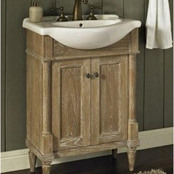 "Fairmont Designs - Fairmont Designs Rustic Chic 26"" Vanity & Sink Set - Weathered Oak - Designed to flaunt the beauty of its wood, Rustic Chic invites you to bring a touch of texture to your bath. The earth-bound, organic look derives its appeal from clean lines and tactile Weathered Oak veneers, accented with subtle brass finished knobs. A variety of cabinet sizes and configurations allows you to customize your space...naturally. Fairmont Designs is described in two words; quality and beauty. Express your creativity with Fairmont Designs bathroom vanities and bath furniture ensembles. The distinctive families of bath furniture from Fairmont Designs come in styles for every bath. Artistry and elegance are delivered in carefully constructed products built with sustainable materials and sturdy craftsmanship. From petite corner solutions to traditional sized pieces, Fairmont Designs is your choice for exquisite and timeless beauty.Features: Materials: White Oak Veneers with White Oak Solids Hinges: Fully concealed, soft closing Doors: 2 Hardware: Brass Dimension: 26""W x 17""D x 36""H  How to handle your counter View Spec Sheet"