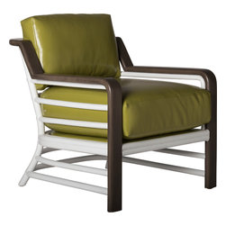 David Francis Furniture - Miami Beach Lounge Chair, Wasabi - Inspired by midcentury design, this lounge chair a rattan frame and mahogany wrapped arms. In a bold two tone hue, this chair is sure to make a statement in any room in your home.