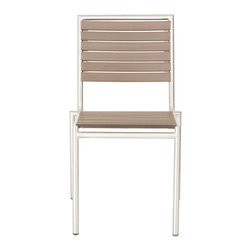 Eurostyle - Nathan Stacking Chair (Set Of 4)-Tpe/Ss - Simulated teak slats, solid