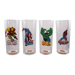 Set Of 4 Marvel Comics Heroes Iced Tea Glasses 14 Oz - Get the party started right with this beautiful officially licensed Marvel Comics mixed `Heroes` Hi-Ball, or iced tea glass set. The set comes with four 14 ounce glass hi-ball glasses, each with a different Marvel superhero image. Hand wash only, they are not microwave or dishwasher safe. The set makes a great gift for any Marvel Comics fan.