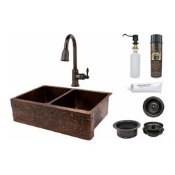 Premier-Copper-Products - Copper Apron 50/50 Sink Scroll Design w/Faucet - KSP2_KA50DB33229S Premier Copper Products 33 Inch Hammered Copper Kitchen Apron 50/50 Double Basin Sink w/ Scroll Design with ORB Pull Down Faucet, Matching Drains, and Accessories.