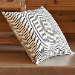 Hand-Blocked Chevron Pillow Cover - Hand-blocked and hand loomed by skilled Indian artisans using traditional techniques certified by the nonprofit organization Craftmark, this raw silk pillow cover's dynamic chevron stripes zig and zag across a ground of pure, raw silk. Mix and match it with other pillows from west elm for a whimsical play of color, pattern and texture.