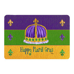 Caroline's Treasures - Mardi Gras Kitchen Or Bath Mat 20X30 - Kitchen or Bath COMFORT FLOOR MAT This mat is 20 inch by 30 inch. Comfort Mat / Carpet / Rug that is Made and Printed in the USA. A foam cushion is attached to the bottom of the mat for comfort when standing. The mat has been permenantly dyed for moderate traffic. Durable and fade resistant. The back of the mat is rubber backed to keep the mat from slipping on a smooth floor. Use pressure and water from garden hose or power washer to clean the mat. Vacuuming only with the hard wood floor setting, as to not pull up the knap of the felt. Avoid soap or cleaner that produces suds when cleaning. It will be difficult to get the suds out of the mat