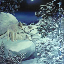 overstockArt.com - Miller - He Stands Guard - He Stands Guard is a beautiful painting of winter landscape and nature on a cold night. One wolf stands guard while the other sleeps peacfully. Enjoy the beauty of this painting reproduced as a fine canvas print. Peggy Miller is a self taught artist that worked in many different artistic jobs from graphic design, costume design and many others. However, painting has become her passion. She is a nature lover that believes in conservation and preservation and hopes that her work will help others see the world as she does, with the wonder of a child. In her paintings she tries to capture a soft, beautiful, serene feeling that beauty of nature gives to her.