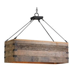 Currey and Company - Billycart Chandelier - Fashionably finish your kitchen or dining room with the chic farmhouse style of this chandelier. The natural wood crate shade is complemented by wrought iron hardware in a blacksmith finish, creating a look that's full of rustic allure.
